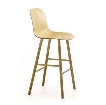 Contemporary bar chair / upholstered / with footrest / ash