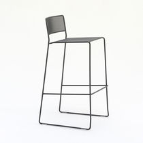 Contemporary bar chair / with footrest / stackable / sled base