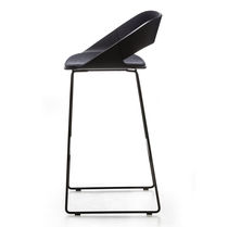 Original design bar stool / ash / powder-coated steel / contract