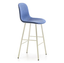 Scandinavian design bar stool / painted steel / powder-coated steel / velvet