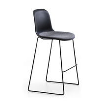 Contemporary bar stool / leather / chrome steel / painted steel