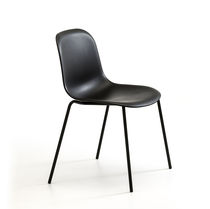 Scandinavian design visitor chair / with armrests / upholstered / stackable