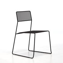 Contemporary chair / mesh / steel / painted steel