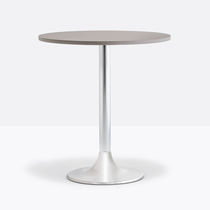 Contemporary bistro table / cast iron / powder-coated steel / chrome steel