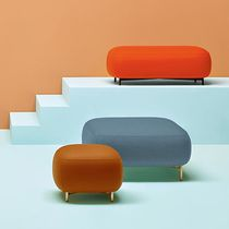 Contemporary pouf / fabric / steel / brass