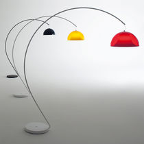 Floor-standing lamp / contemporary / powder-coated steel / opalescent glass