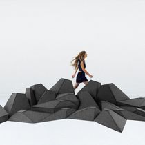 Original design pouf / wool / modular / stackable