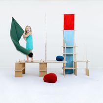 Modular shelf / contemporary / wooden / cork