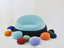 Organic design armchair / wool / modular