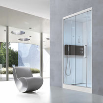 Multi-function shower cubicle / glass / acrylic / chromotherapy