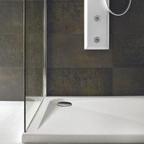 Square shower base / fiberglass / acrylic / extra-flat