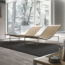Contemporary chaise longue / beech / stainless steel