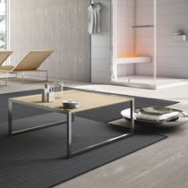 Contemporary coffee table / beech / stainless steel / square