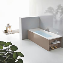 Acrylic bathtub / with integrated cupboards / hydromassage / chromotherapy