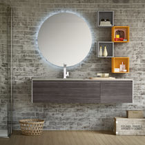 Wall-hung washbasin cabinet / cement / melamine / contemporary