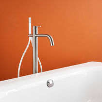 Bathtub mixer tap / floor-mounted / stainless steel / bathroom