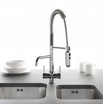 Free-standing double-handle mixer tap / brass / kitchen / 1-hole