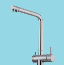 Free-standing double-handle mixer tap / stainless steel / kitchen / 1-hole