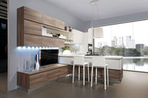 Contemporary kitchen / wood veneer / L-shaped / lacquered