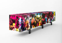 Contemporary sideboard / solid wood / tempered glass / MDF