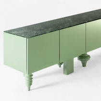Original design sideboard / solid wood / lacquered wood / marble