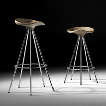 Contemporary stool / aluminum / wood / on casters