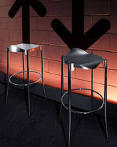 Bar stool / contemporary / leather / aluminum
