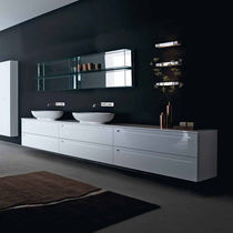 Double washbasin cabinet / wall-hung / oak / contemporary