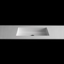 Built-in washbasin / oval / rectangular / glass
