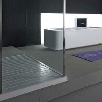 Rectangular shower base / teak / Corian®
