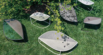 Contemporary side table / stainless steel / contract / garden