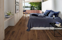 Solid wood flooring / glued / oak / lacquered