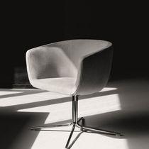 Contemporary armchair / swivel / star base / textile