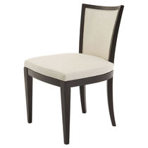 Traditional chair / with armrests / upholstered / wooden
