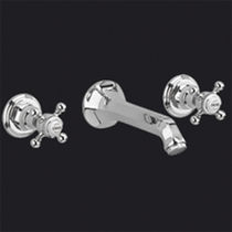 Washbasin double-handle mixer tap / wall-mounted / chrome / for bathrooms