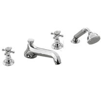 Bathtub double-handle mixer tap / chrome / for bathrooms / 4-hole