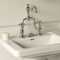 Washbasin double-handle mixer tap / chrome / for bathrooms / 2-hole