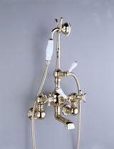 Bathtub double-handle mixer tap / wall-mounted / chrome / for bathrooms