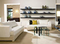 Contemporary sofa / wicker / 2-seater / white