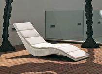 Contemporary sun lounger / resin wicker / indoor / garden