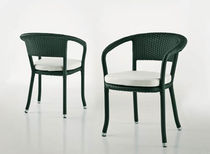 Contemporary garden chair / with armrests / resin wicker
