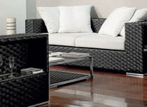 Contemporary sofa / garden / resin wicker / 2-seater