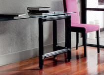 Contemporary sideboard table / glass / rattan / rectangular