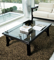 Contemporary coffee table / glass / rattan / rectangular