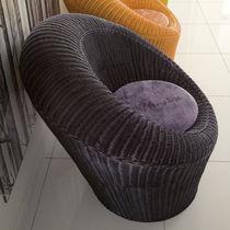 Contemporary armchair / central base / rattan / wicker