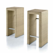 Contemporary bar stool / resin wicker / garden