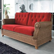 Traditional sofa / wicker / 3-seater / red