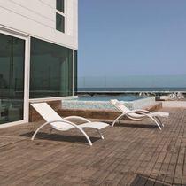 Contemporary chaise longue / resin wicker / garden / for public areas