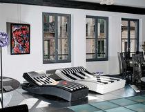 Contemporary chaise longue / resin wicker / garden / double