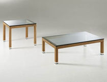 Contemporary coffee table / glass / resin wicker / rectangular